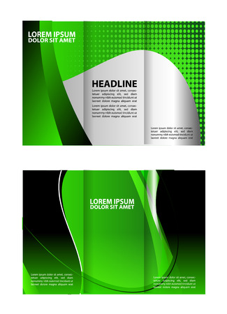 Trifold brochure template empty vector design with green Illustration