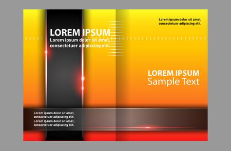 bi: Yellow bi fold brochure template Illustration