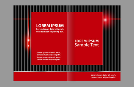 book spreads: Vector brochure template design with empty black and red elements