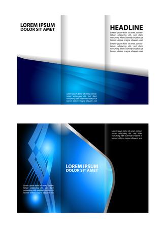 Tri-fold brochure blue vector design template Vetores