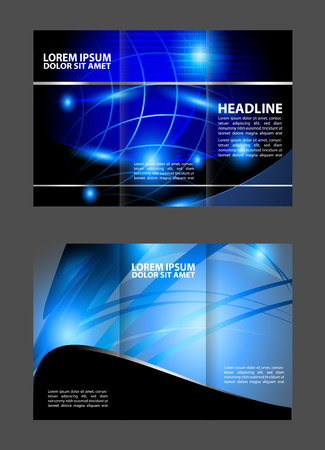tri color: Blue Wave tri-fold design template for brochure