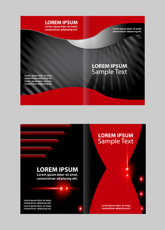 magazine stack: Bi-fold brochure template Empty design with red color, booklet