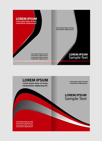 book spreads: Vector brochure template design with red elements