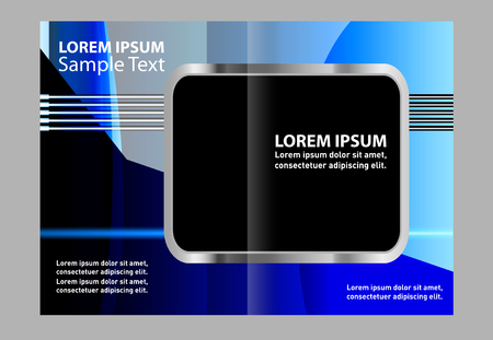 book spreads: Bi-fold brochure empty vector template blue print design, booklet layout