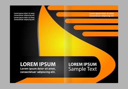 Vector empty brochure template design with black and yellow elements