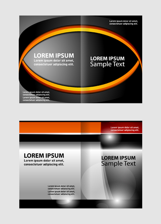 book spreads: Bi-fold brochure empty vector template design with orange and gray elements
