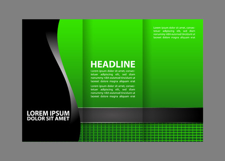 booklet design: Vector red and black tri-fold brochure design template with abstract geometric background Tri-Fold Mock EPS10 back up & Brochure Design