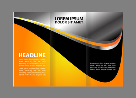 tri color: brochure tri-fold design template abstract vector