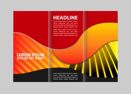 rollover: Tri fold brochure template design pizza store vector illustration