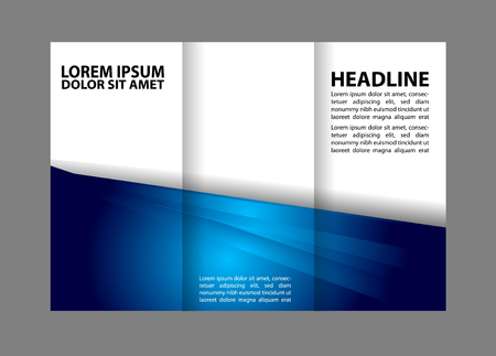 book spreads: Tri-fold brochure empty vector template design print, bright violet trifold flyer or booklet