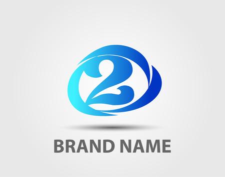 logotype: Number 2 logo. Vector logotype design.