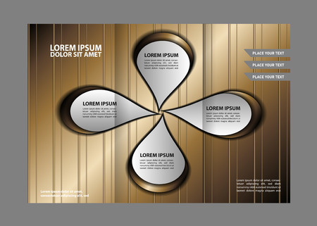 magazine stack: Three fold business brochure template, corporate flyer or cover design