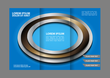 book spreads: Trifold brochure empty vector template design with blue