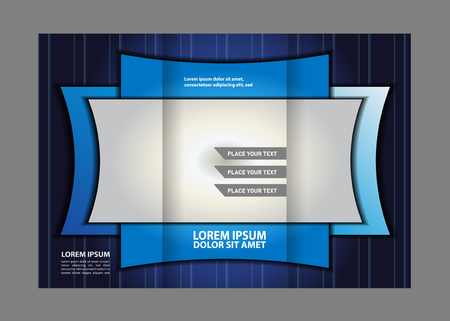 rollover: Tri fold brochure design template vector illustration