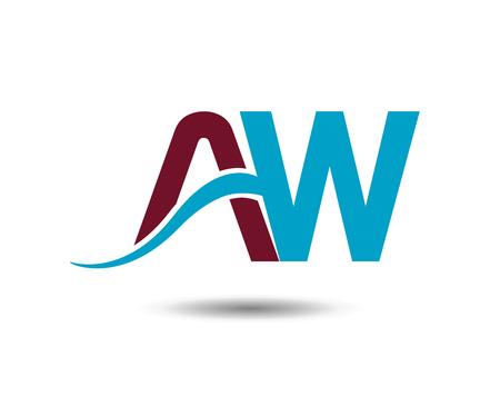 Letter AW linked company logo Illustration