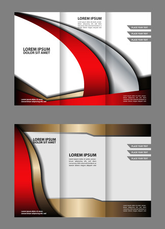 back up: Vector red and black tri-fold brochure design template with abstract geometric background Tri-Fold Mock EPS10 back up & Brochure Design