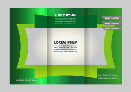 ambience: Trifold brochure template design with polygons, polygonal sphere. Editable vector and light with places for photos. proportionally A4