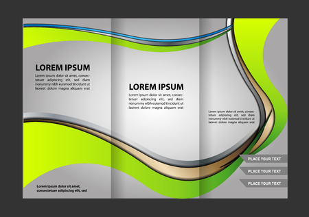 ambience: Trifold brochure template with blue design of polygons. Editable vector and light with places for photos. proportionally A4