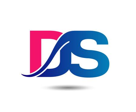 Elegant alphabet letter D and S. vector illustration Illustration