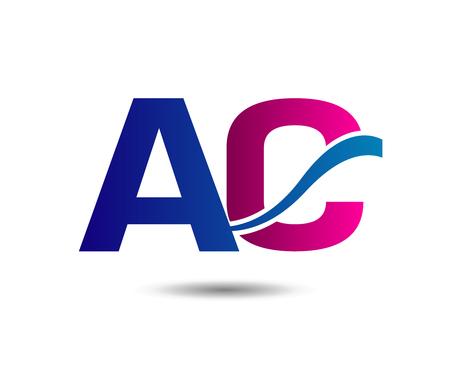 ac: Elegant black and gold alphabet letter A and C . vector illustration Illustration