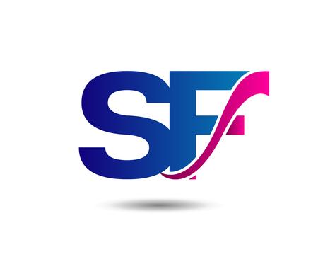 Elegant alphabet letter S and F sf. vector illustration