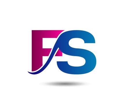 Elegant alphabet letter F and S. vector illustration Illustration