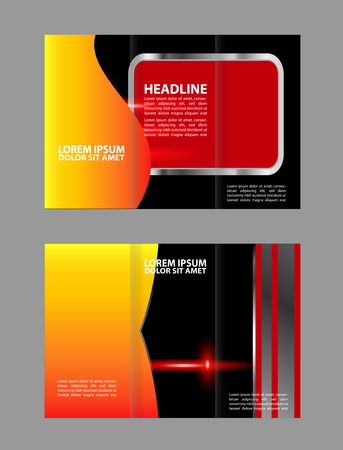 technologic: brochure design template vector geometric abstract blue tri-color fold