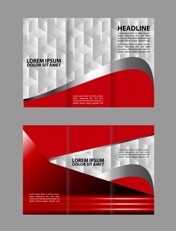 book publisher: Trifold brochure template design with polygons, polygonal sphere. Editable vector and light with places for photos. proportionally A4
