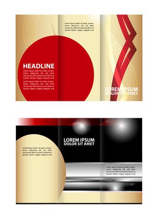 tri fold: Tri fold brochure template Red business Illustration