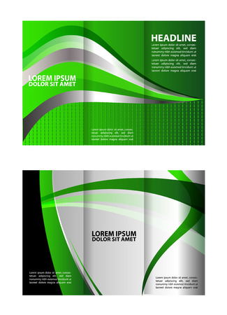 Trifold brochure template empty vector design with green and gray elements Illustration