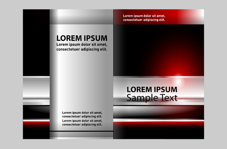 bifold: Bi-fold brochure vector modern template design with red background Illustration