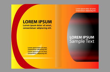 magazine stack: Bi-fold brochure template design with red color