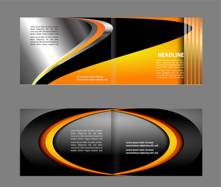 Bi-fold brochure empty vector template print design, bright orange & yellow bifold booklet or flyer Illustration