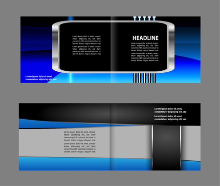 Bi-Fold Corporate Business Store Brochure Design Mock up & Illustration