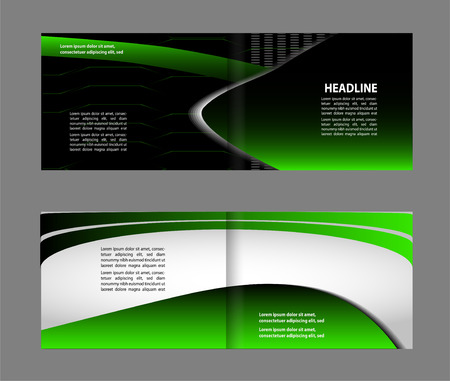magazine stack: Bi-fold brochure template design with green color