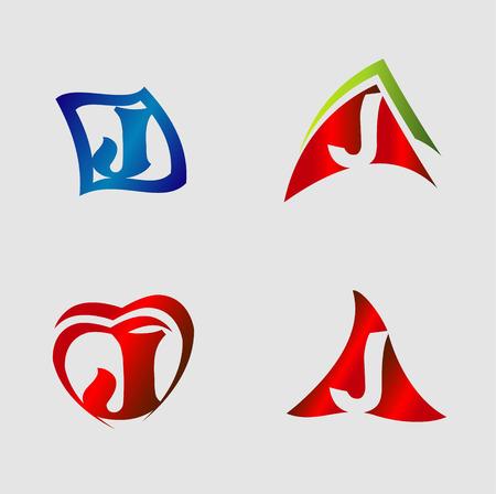 Set of alphabet symbols and elements of letter J Illustration