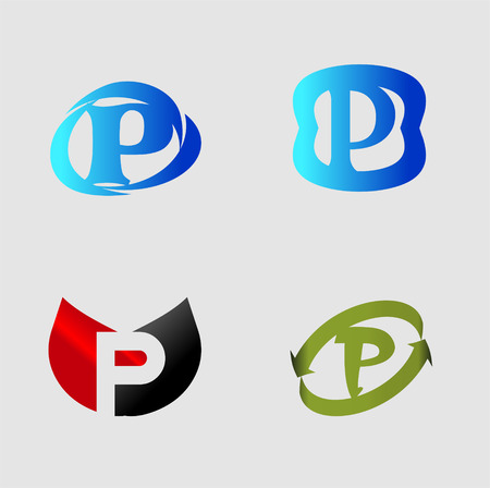 p buildings: Letter P. Alphabet vector design.