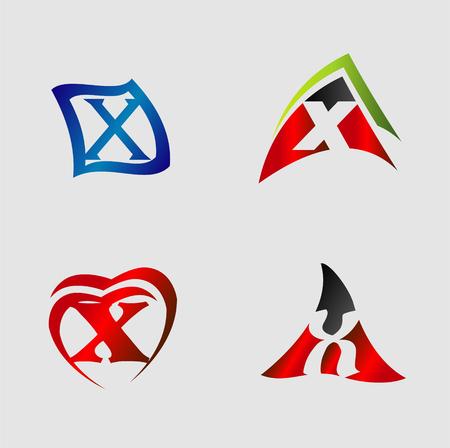 xy: Set of alphabet symbols and elements of letter X Illustration