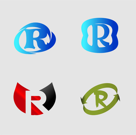 Letter R alphabet vector design template element