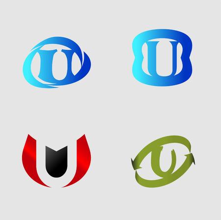 labirinth: Vector alphabet Letter U template design element Illustration