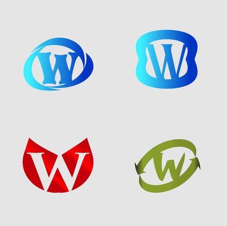Letter W alphabet vector design template element