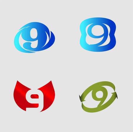 number nine: Number nine template. Abstract icon