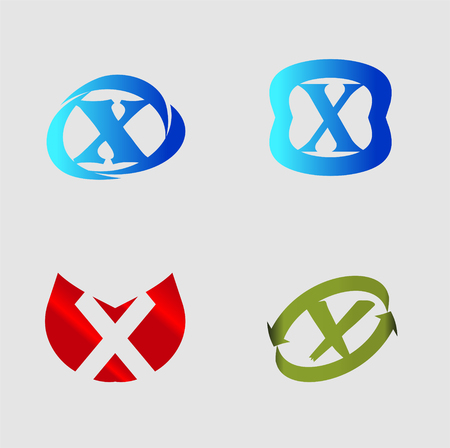 labirinth: Vector alphabet Letter X template design element