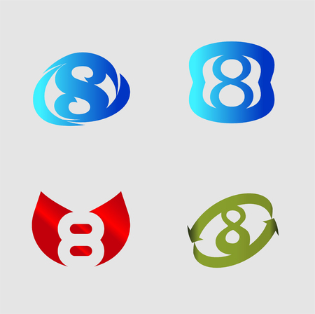 number eight: Number eight template. Abstract icon