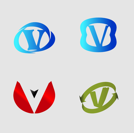 Vector alphabet Letter V template design element Illustration