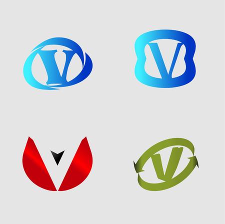labirinth: Vector alphabet Letter V template design element Illustration