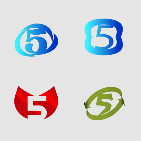 number five: Number five template. Abstract icon