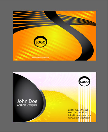 pattern corporate identity orange: Professional business card or visiting card set set Illustration