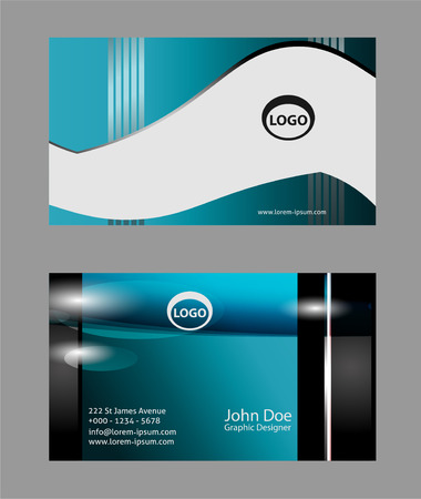 black and blue: Abstract black blue business card editable Illustration
