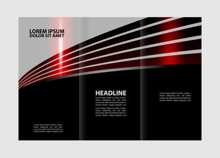 book spreads: Brochure mock up design template for business, education, advertisement. Editable vector illustration booklet printable trifold.